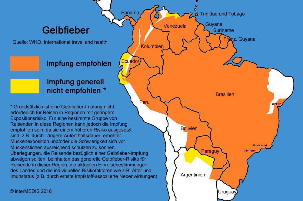 Lateinamerika Karte Länder.Gelbfieber Krankheiten A Z Fit For Travel De